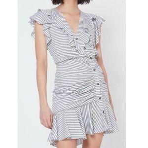 VERONICA BEARD Kai Sleeveless Dress In Blue/white